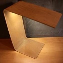 Bent Acrylic Lamp w/ Birch Veneer