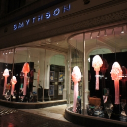 Smythson of Bond Street enters an extraordinary underwater world of dreamlike Jellyfish lamps designed by British artist Tristan Cochrane and Paula Benvegnú.