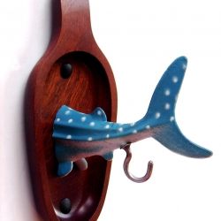 The Whale Shark, normally found in open tropical waters...brought to you by designer Karen Booker as an upcycled key and coat holder...
