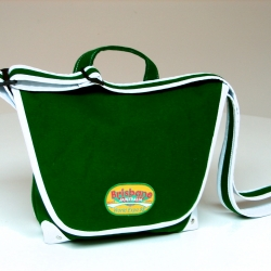 Great new life for used Pool Table Felt which has been upcycled into a messenger bag by Karen Booker of Luxford St .  This design sports an original embroidered badge from the '88 World Expo in Brisbane.