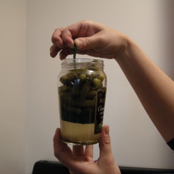 A jar of cornichons, Paris style ~ brilliant packaging, you can lift the base to reach those remaining few at the bottom!