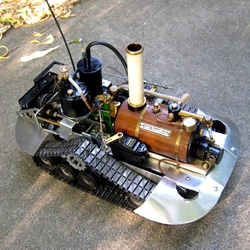 I-Wei Huang hacks together RC toys and steam engines to make intricate kinetic sculptures.