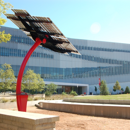 Spotlight Solar's Curve structure. The solar tree is generating clean energy and raising awareness of sustainability at NC State University.