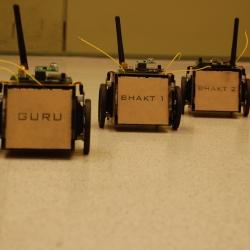 wireless sensor nodes based Robots, showcasing the Leader-Followers (Guru-Bhakts) behavior on the wireless sensor network.