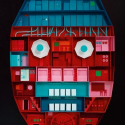 For his latest poster based on the theme Democracy, Johnny Kelly created a super-detailed paper sculpture of the human head as a giant machine, and then photographed it.
