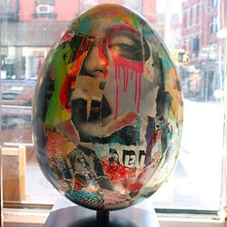 "The Big Egg Hunt NYC kicked off today and continues throughout the month of April. Over 200 eggs painted by artists have been ""hidden"" in all 5 boroughs."