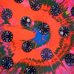 Damien Hirst was commissioned to create two paintings, 'beautiful sunflower' and 'beautiful fractional sunflower' both featuring dozens of watch components from Panerai timepieces.