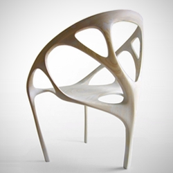 Brazil No.2 is a limited-edition armchair designed by architect / Maya master Daniel Widrig, built from laminated wood sheets via a 5-axis CNC router. Digitally prototyped through digital dynamics simulation.