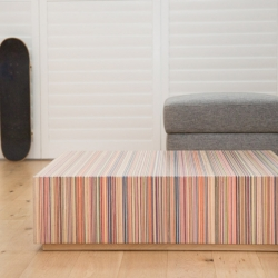 DecksPad™ by Focused Skateboard Woodworks. A coffee table constructed from recycled skateboards. Designed to get your adrenaline going at home. If you love sevenply maple, you will love this one!