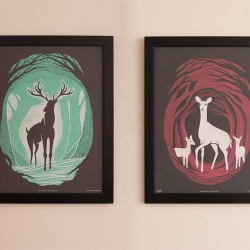 "New art prints from Familytree inspired by a brief passage in ""The Hobbit"" where Bilbo and the dwarves cross paths with a family of mystical deer on their journey through the dark and perilous forest of Mirkwood."