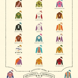 A third running of  'The Kentucky Derby Is Decadent and Depraved' print by Rachael Sinclair.
