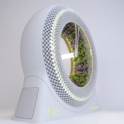 Italian studio DesignLibero created The Green Wheel, a rotary hydroponic garden that provides a constant supply of micro-herbs and salad.