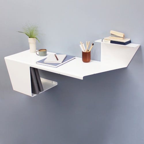 Anne Linde now makes a Desk! Wall mounted bent metal desk that's great for small spaces.