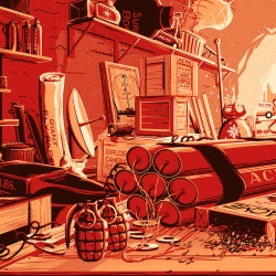 Every ACME product ever, in a cave. 126 rockets, gadgets, and explosives from our favorite desert coyote. Print illustration by Rob Loukotka (Fringe Focus).