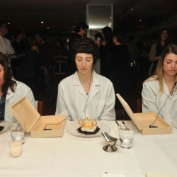 Artist Marina Abramovic turns restaurant eating into performance art.