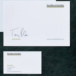 A new corporate identity for ex-UK Prime Minister Tony Blair. What, no bombed-out cars, wads of cash or dodgy dossiers?