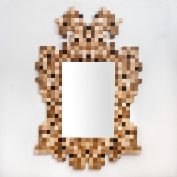 Low Res Frame, pixelated baroque frame in precious woods, Diego Zanella for Superego editions