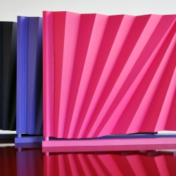 A limited edition of three brightly coloured monochrome Different Angles screens will be shown (and for sale!) at Designgalleriet, Stockholm, October 1st to 24th. The exhibition is called Unique Pieces.  From a basic sheet of paper, Different Angles is folded in opposite diagonal angles.  Fold by fold. A thin piece of paper can be transformed into a beautiful volume with subtle, yet dynamic shadows. Full sized screen can change an office space, shop or lounge. The screen folds up butifully into a thin and very light package. A sensible object for poetic environments where you can change the set. Again and again.