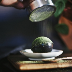 Black Sesame & Matcha Green Tea Pudding Spheres! Turning the typical pudding snack on it's head with unique earthy flavors in dramatic shapes.