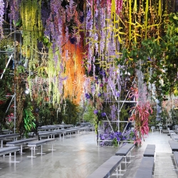 Dior showcased their Spring/Summer 2014 collection under the hand woven canopy of a blossoming floral wonderland.