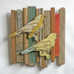 I love the new work from Dolan Geiman. His spring collection features driftwood, old cola boxes, and screen printed woodpeckers.