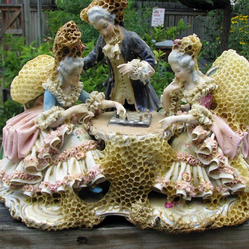 Aganetha Dyck used hundreds of bees to restore these broken and vintage sculptures. Her project, which involved consultation with scientists and beekeepers, aims to raise awareness around waste and the environmental concerns they face.