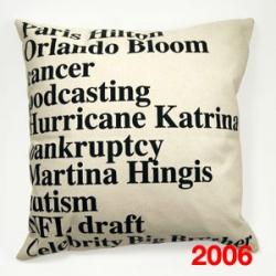 Google News Cushions. The top headlines from 2003, 2005 and 2006 Google searches printed on hand signed cushions. Designed by Elodie Blanchard.