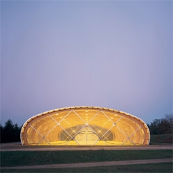 French architects ECDM designed this astonishing sports center in Sarcelles. I love both the structure and the fold on the skin to create the entrance.