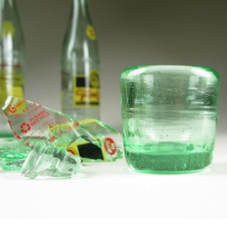 ECO shot glass, made from blown recycled bottle glass by Dean & Carrie Wolf (wolfartglass).