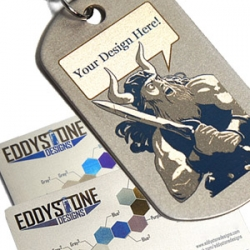 Eddystone Designs developed a brand new design medium, moving laser engraved colors on titanium, and is offering artist and designers the opportunity to design their own pieces.