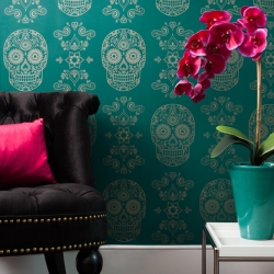 In time for Day of the Dead, medical artist Emily Evans with a new colorway in her Day of the Dead Gold Sugar Skull wallpaper series. The gold sugar skull on a rich matte emerald, colorful, luxurious addition to any interior.