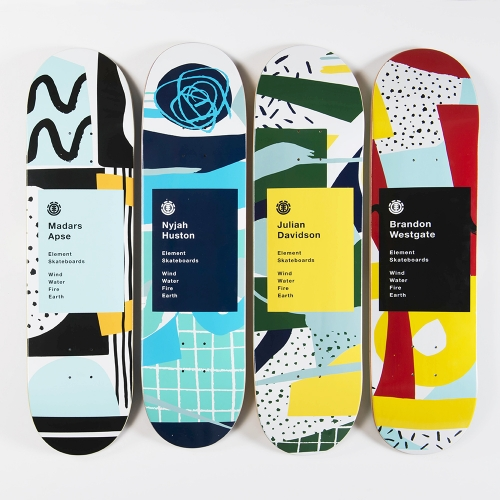 Atelier Bingo, a small illustration and print studio based in the west of France created a series of abstract skateboard graphics for Element Skateboards