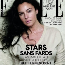 This month's French Elle mag. brings stars without make-up and without photoshop touch ups. Monica Belucci and Sophie Marceau among others.