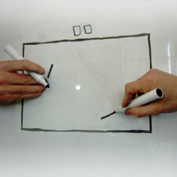 ENESS takes a regular whiteboard, regular markers and plays PONG irregularly.