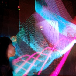 1 million particles inhabit this space, an interactive installation by ENESS at Art Taipei09.