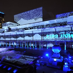 Bangkok enjoyed a massive interactive projection blanketing the 90 meter King Power complex. Visitors can interact and effect the visuals. Crafted by Melbourne based team - ENESS.