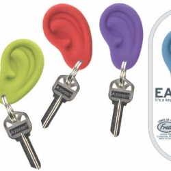 Haven't you heard? There's a fun new way to keep track of your keys! EAR RINGS are a simple, clever idea - a jewel-toned silicone ear pierced with a heavy duty split ring.