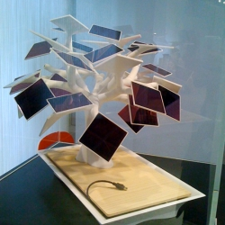 Bonsai-inspired Electree by Paris-based industrial designer Vivien Muller charges mobile devices with solar energy.