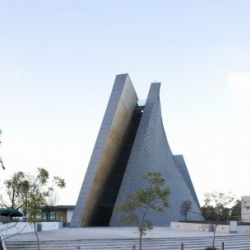 Located on the west side of Mexico City, this is San Josemaría Escrivá Church by Javier Sordo Madaleno Bringas Architects.