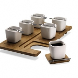new at the MoMA store - Fellina Sok-Cham's Espresso Set with ceramic cups, stainless steel spoons and interlocking bamboo coasters!