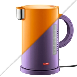 Interesting approach by Bodum. Designed by Sottsass back in 1988, the colorful 'Ettore' plastic/stainless steel/silicone water kettle honors the Memphis design group and their vision.