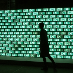 Cécile Colle and Ralf Nuhn's 'Exit-Wall' is a modular installation comprising of 200 illuminant exit signs that mark the entrance to the Kinetica Art Fair, which runs from February 4th-6th in London.