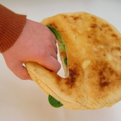 An experimental bread bag from Katja Gruijters Fooddesign - made of pita!
