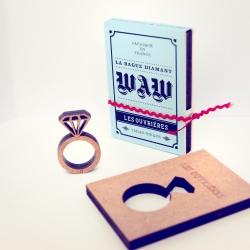 "Rings by ""Les Ouvrières"", made, or rather, laser cut from a single small sheet of plywood. The collection consists of eleven rings of different shapes, each accompanied by a personalized packaging inspired by vintage book covers."