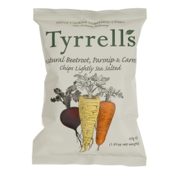 "Tyrrells Potato Chips has some nice and simple packing for their Mixed Root Vegetable Chips and Parsnip Chips. The illustrations give the products an authentic feel, almost an organic ""earthiness""."