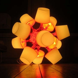 Beautiful DIY big lamp made from small IKEA lamps. From instructables