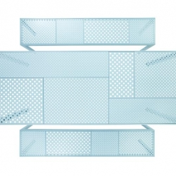'Areal' table and bench crafted from laser-cut metal panels, powder-coated in light blue, and shaped to resemble fields of crops when viewed from above. Broberg & Ridderstråle for Nola.