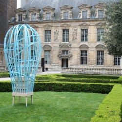 Presented this month in the garden of the Sully Hotel in Paris, 'La Danse des Abeilles' (Dance of Bees) is a caged hive representing the barrier between man and bee. By French designers Vaulot&Dyèvre.