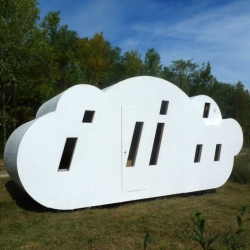 'Le Nuage' (the cloud) is a playful and poetic micro-architecture shelter made ​​of wood and Plexiglas that sleeps 7 people. By Zébra3 / Buy-Sellf, an artists' collective based in Bordeaux, France.