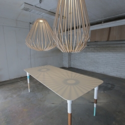 'Longue Vue' table & 'Mecacocoon' chandelier by French designer Gael Wuithier founder of My WoodLabo.